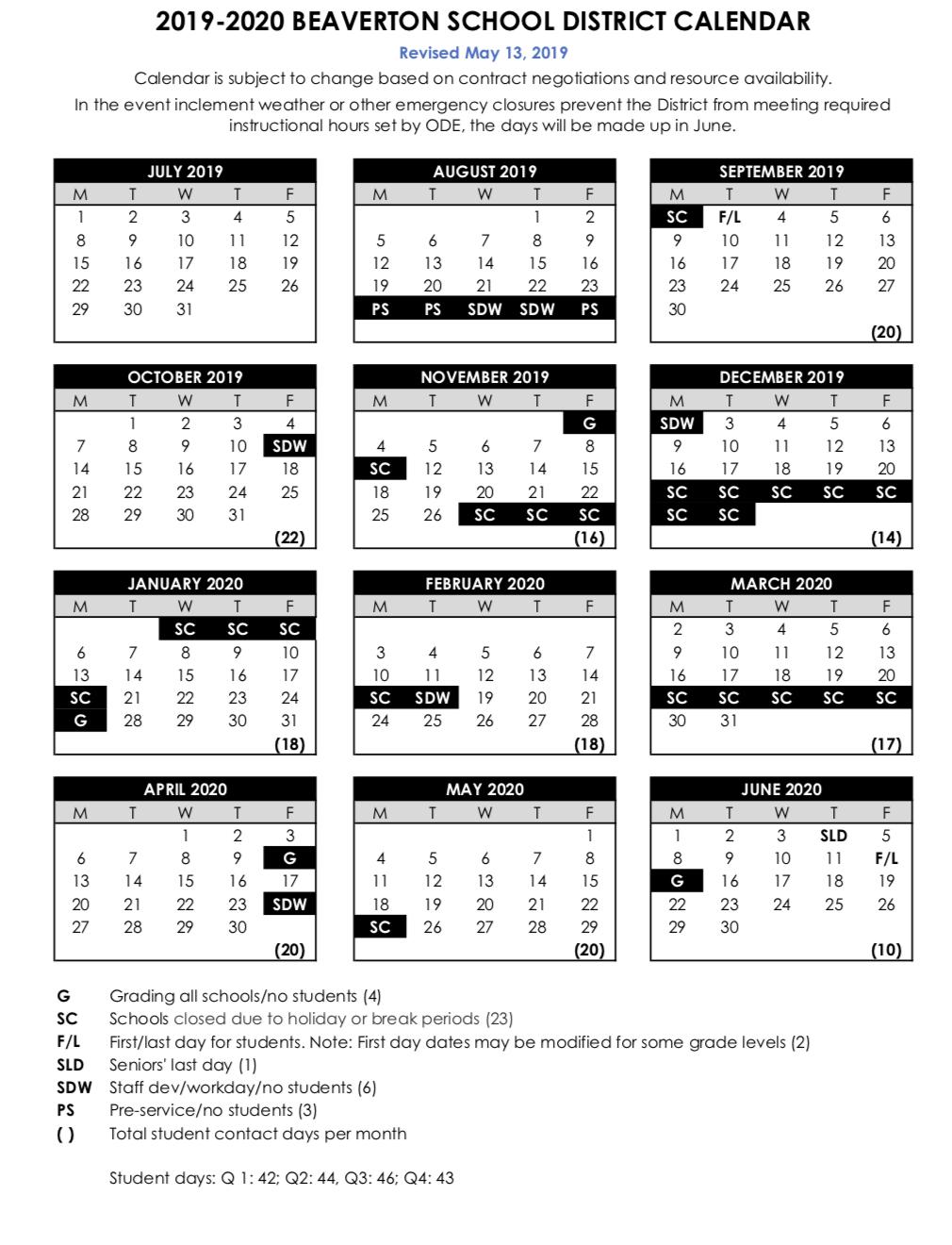 Beaverton School District Calendar BSD Calendar | Cooper Mountain PTO