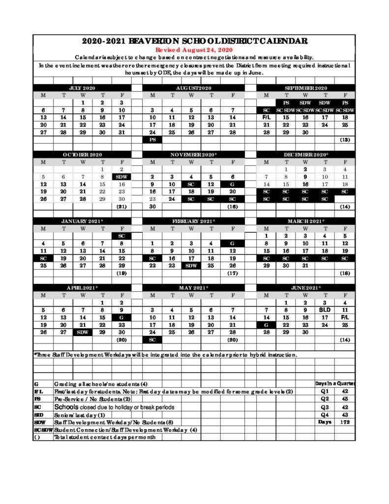 Bsd Calendar 2021 BSD Calendar | Cooper Mountain PTO